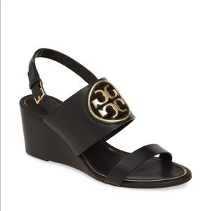 Tory Burch Miller Wedge Sandal Size 10 Black NIB